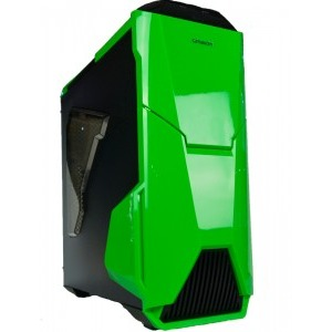 Carcasa SEGOTEP GAMMEX Warship Black/Green, lateral transparent, USB 3.0