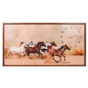 TABLOU CU CEAS INRAMAT 50X100 CM HORSES