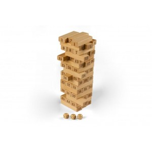 Jenga din lemn natur cu cifre