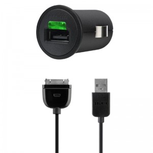 CHARGER AUTO BELKIN+APPLE CABLE