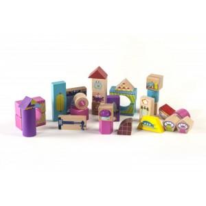 Cuburi lemn colorate pt constructie,roz