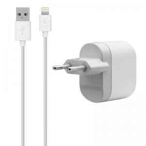 CHARGER AC BELKIN 2.1A LIGHTN CABLE WHT