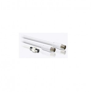 2M WHITE COAX M-M (F-F ADAPTER INCLUDED)