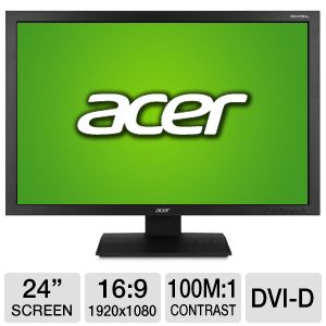 Monitor 24 LED ACER B243HL, FULL HD, 1920x1080, 5MS, VGA, DVI, Boxe incorporate
