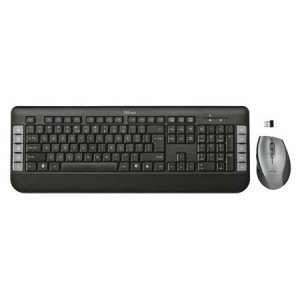 Kit Wireless tastatura + mouse optical Trust Tecla, USB, Negru/Gri