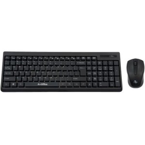 Kit Wireless tastatura + mouse optical A+ K2, USB, Negru
